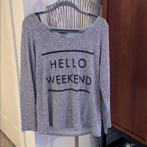 Fun weekend long sleeve top